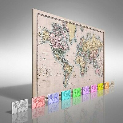 Map Of The World Circa 1860 Canvas Print Large Picture Wall Art
