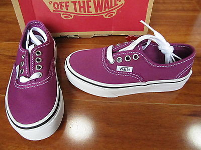 NEW VANS Authentic CANVAS SKATE SHOES Kids Girls 10.5 Wild Aster/White