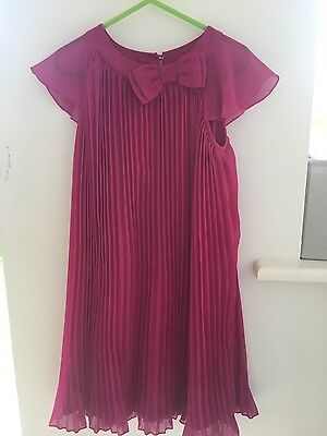 Girls cherise pink pleated dress m&s Marks and Spencer aged 5-6 Years