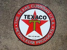 "Texaco Texas 9"" Porcelain Overlay Metal Sign   Nr"