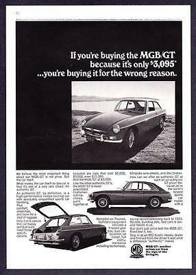 """1967 MG MGB/GT Coupe photo """"High-Performance Touring Car"""" vintage print ad"""