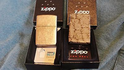 Silver Matte And Camo Zippo Lighter With Boxes...set Of 2
