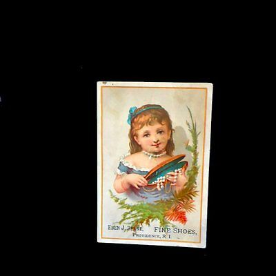 Victorian Card=Eben J. Beane-SHOES=Pretty young girl-Pearl Beads=Providence-RI
