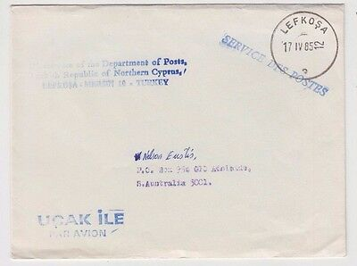 Stamp Cyprus LEFKOSA postmark from illegal Turkish part airmail to Nelson Eustis