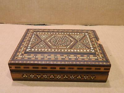 Hand Crafted Rectangle Wood Box Inlaid Marquetry Top  & Sides Antique