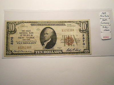 1929 $10 National Currency Note New York/ Folds
