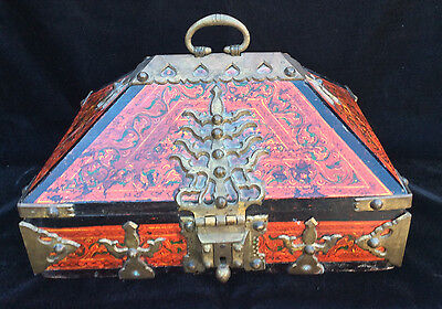EXTREMELY RARE 1800's INDIAN WEDDING DOWRY WOODEN BOX & ORNATE BRASS HARDWARE