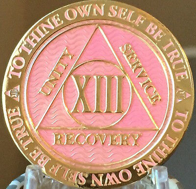 13 Year AA Medallion Pink Gold Plated Alcoholics Anonymous Sobriety Chip Coin