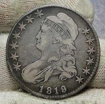 1819 Capped Bust Half Dollar 50 Cents - Nice Coin, Free Shipping (5852)