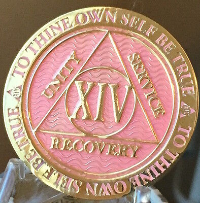 14 Year AA Medallion Pink Gold Plated Alcoholics Anonymous Sobriety Chip Coin