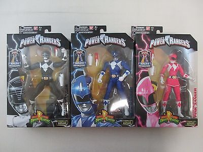 Lot of 3 POWER RANGERS Legacy Collection Action Figures MMPR Black Blue Pink NEW