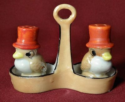1930's Japan Figural Deco Luster Birds w/Hats 3pc Salt & Pepper Set w/Holder