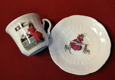 Sunbonnet Girls Childs Demitasse Cup & Saucer Girl Does Ironing & Cooks