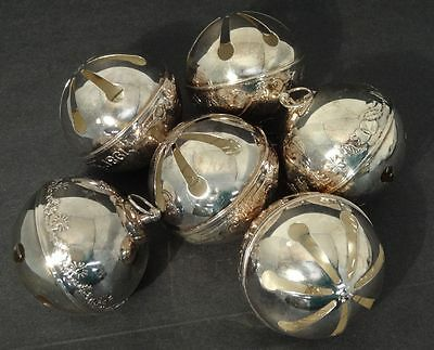 Wallace Sleigh Bell Silver Plated 1980's Christmas Tree Ornaments-Lot of 6