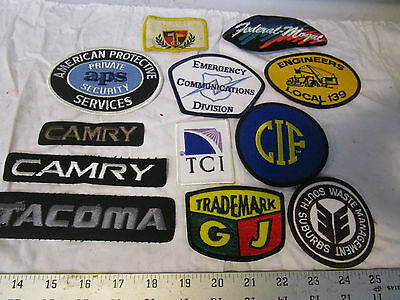 vintage Mixed Lot of 12 Patches Advertising Cars Security CIF APS Waste Mgmt.