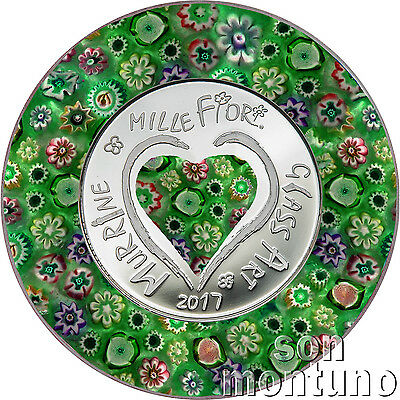 2017 Cook Islands - MURRINE MILLEFIORI - Venetian Italian Glass Art Silver Coin