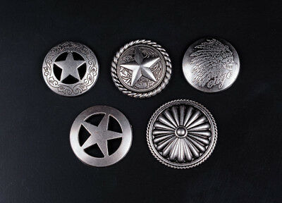 5 Styles Patten Antique Silver Western Punk Conchos Rivetback For Leathercraft