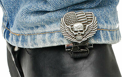 Ryder Clips SWS-FC Stirrup/Strap Boot Clip Skull Wings