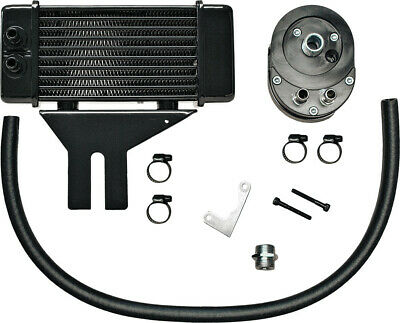 Jagg Black Horizonal Low Mount 10 Row Oil Cooler Kit Harley Dyna 91-16