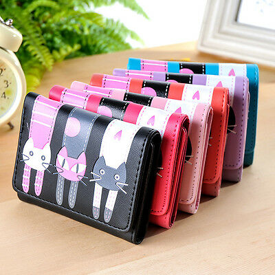 Women Ladies Cute Cat Leather Purse Wallet Clutch Handbags Coin Card Holder Bag