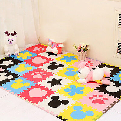 24pcs Interlock Baby EVA Puzzle Paly Mats Animal Footprint Toys Puzzle Foam
