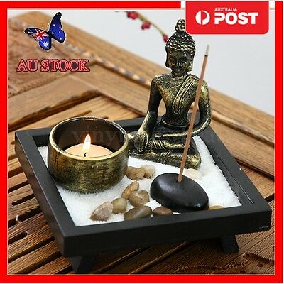 Zen Garden Garten Sand Kit Buddha Rocks Tealight Incense Holder Feng Shui Decor