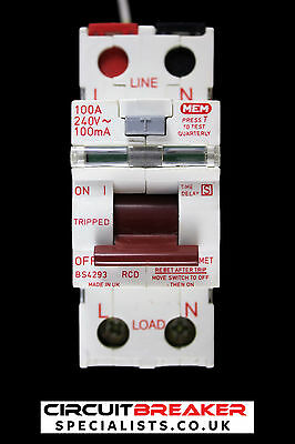 MEM 100 AMP 100 mA DOUBLE POLE TIME DELAYED RCD A100MET