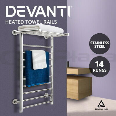 Stainless Steel Heated Towel Rail Warmer Clothes Electric 14 Bar Rack Bathroom