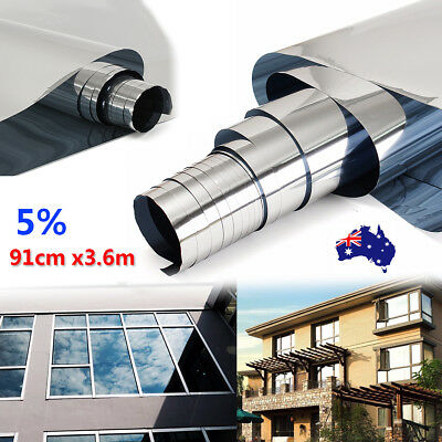 3ftx12ft 5% Mirror Silver Solar Reflective Window Film One Way Privacy Sticker
