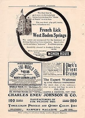 1910 Monon Route Railroad Ad-French Lick,west Baden Springs