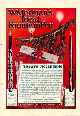 1910 Color Waterman's Fountain Pen Christmas Ad