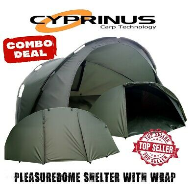 Cyprinus Pleasuredome 1 Man fishing shelter bivvy with wrap overwrap 2nd skin
