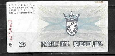 BOSNIA #11a XF CIRC  1992 25 DINARA BANKNOTE NOTE BILL PAPER MONEY CURRENCY