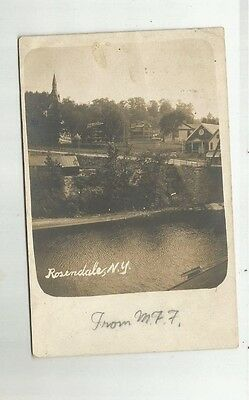 1906 RPPC Rosendale NY Birdseye Showing Canal Church Steeple Real Photo Postcard
