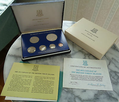 1975 Coin of the Realm Proof Set British Virgin Islands - with COA and Case
