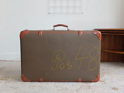 True Vintage Braun Reisekoffer 60er Oldtimer Koffer Antique Travel Case Pos. 48