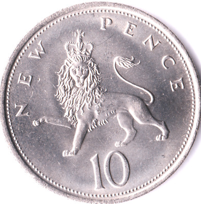 Uncirculated New Pence Large 10p Ten Pence Coins 1968 - 1981 UNC
