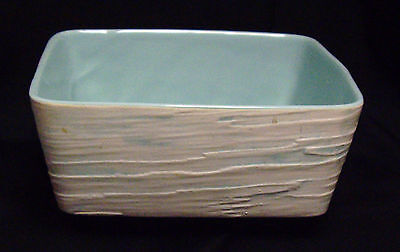Vintage Shawnee Pottery Square Planter Turquoise White Textured #1204 USA