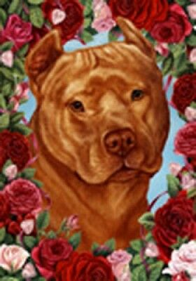 Garden Indoor/Outdoor Roses Flag - Orange American Pit Bull Terrier 194061