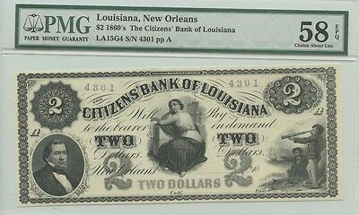 1860's $2 Louisiana, New Orleans The Citizens' Bank of Louisiana PMG 58 Choice a