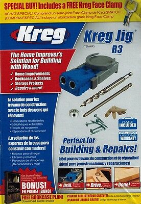 Kreg R3PROMO Pocket Hole Jig System Drill Bit Carrying Case BONUS Face Clamp