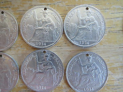 1914 & 1916 Lot of 19 French Indo-China Silver 20 Cent drilled holed decoration