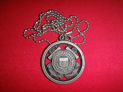 "United States COAST GUARD Insignia ""Coast Guard Opportunities"" + Ball Chain"