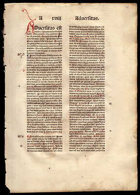 1484 Incunable Leaf John Bromyard's Greatest Proclamation Theology Dominicans
