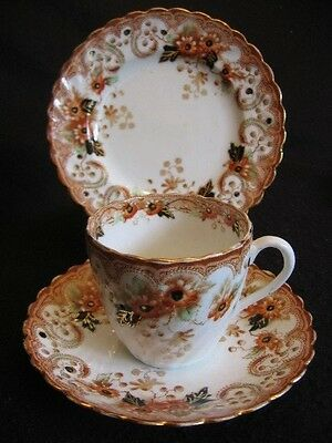 Art Nouveau Shore ,coggins & Holt 'daisy' China Cup/sauc/plate Trio 1905-1910 Ex