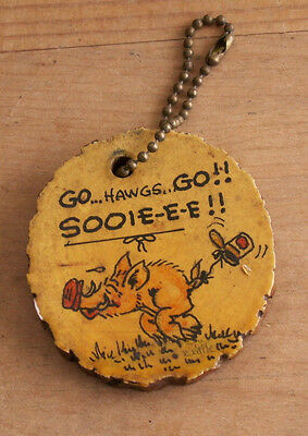 Vintage hand painted signed wooden keychain fob Go Hawgs Arkansas razorbacks hog