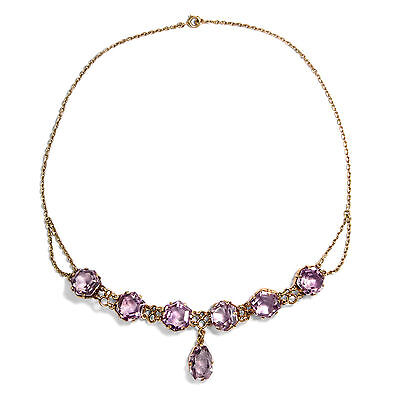Um 1900: Antikes 585 Gold Collier mit Amethysten, Amethyst Kette / 14ct Necklace