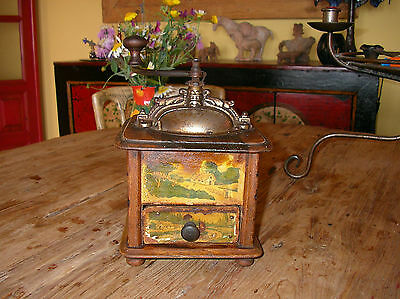 Rare wooden coffee grinder France 1920