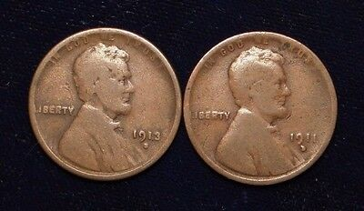 1911-D & 1913-S Lincoln Penny Cent Rare Old U.s. Type Coin