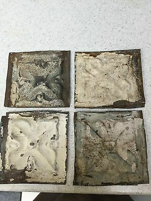 "4- Antique 100 yr. Old Tin Ceiling Tile Vintage Reclaimed Salvage 6""x 6"" Chippy"